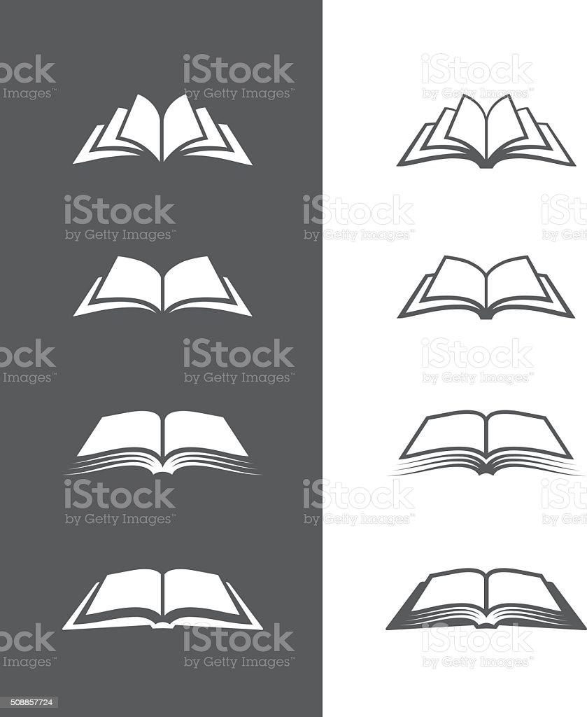 Schwarz und Weiß Buch Symbole Satz Lizenzfreies schwarz und weiß buch symbole satz stock vektor art und mehr bilder von abstrakt