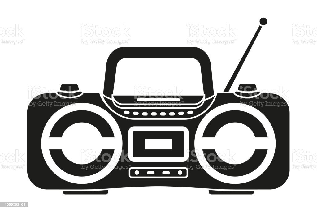 Black and white boombox silhouette vector art illustration