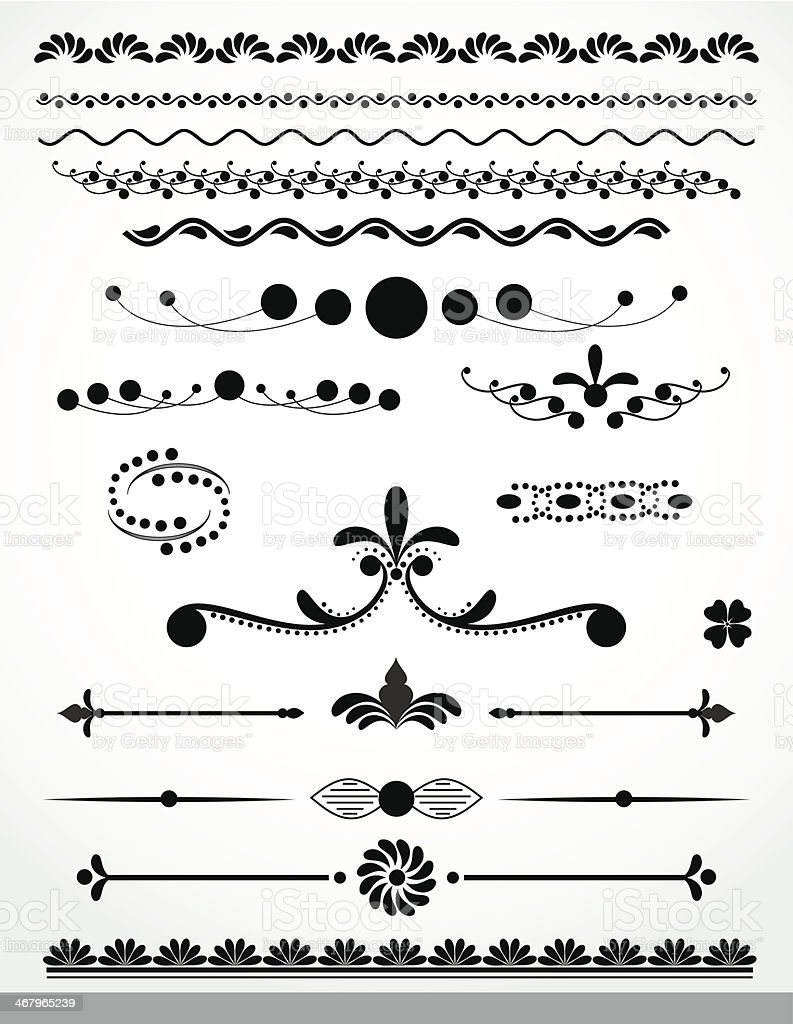 Black and white borders and dividers royalty-free stock vector art