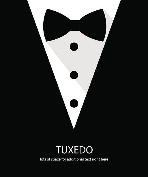 Black and white bow tie tuxedo Black and white bow tie tuxedo illustration flat long shadow tuxedo stock illustrations