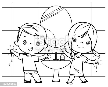 istock Black and White, Boy and girl washing hands 1203066827