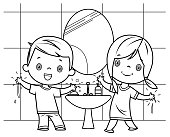 Vector black and White, Boy and girl washing hands