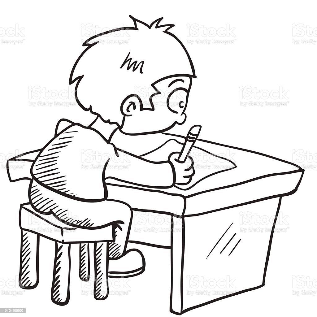 black and white boy doing homework – cliparts vectoriels et plus d