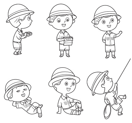 Black And White, Boy in scout uniform in many poses on white
