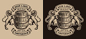 A black and white brewery emblem with a barrel and lions. This design can be used as a icontype for a brewery or for a bar.