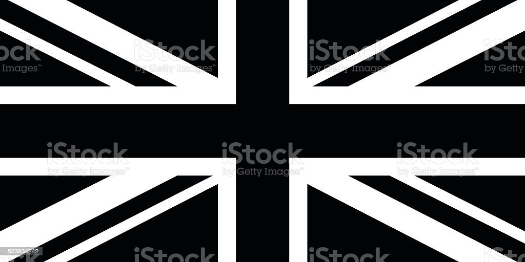 Black and White British Flag vector art illustration