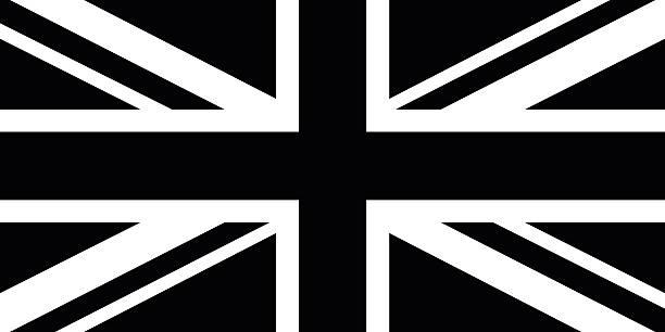 illustrations, cliparts, dessins animés et icônes de noir et blanc drapeau britannique - drapeau du royaume uni