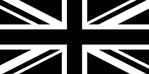 black and white british flag - uk flag stock illustrations, clip art, cartoons, & icons