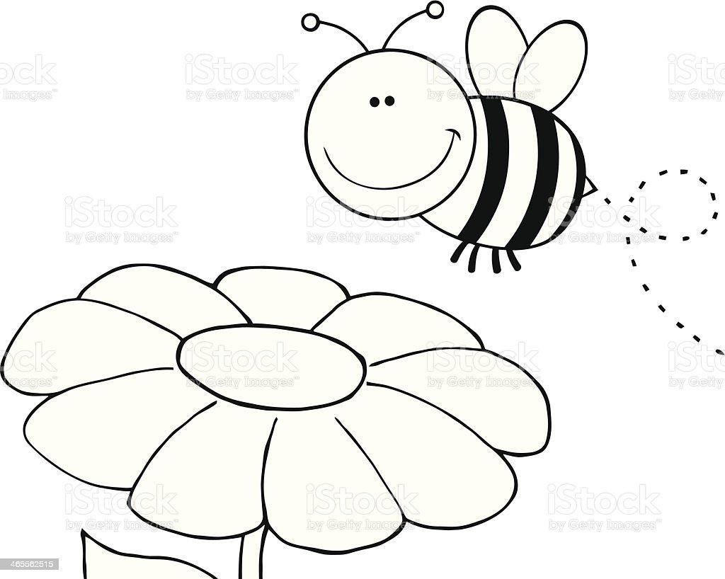 Black and White Bumble Bee Flying Over Flower royalty-free stock vector art