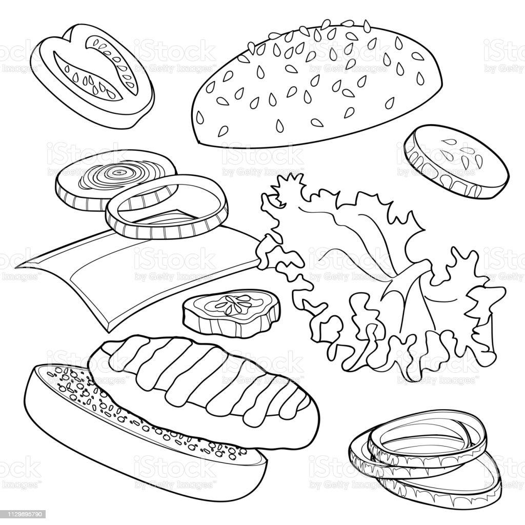 Black and white burger ads over any bg vector art illustration