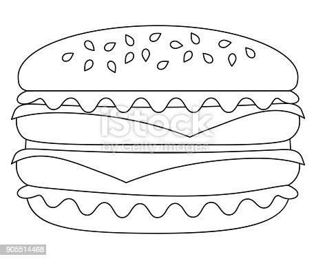 Siyah Ve Beyaz Burger Hamburger çizburger Simgesi Poster Stok Vektör