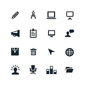 Black and white business and technology icons