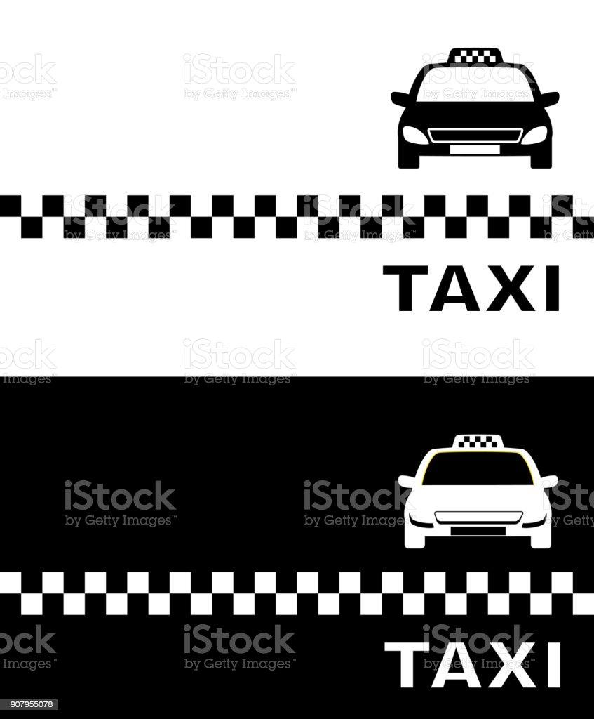 Schwarze Und Weiße Visitenkarte Taxi Stock Vektor Art Und