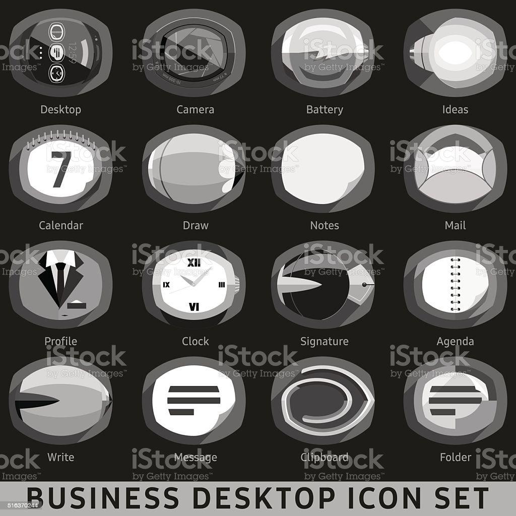 ブラックとホワイトのビジネスデスクトップアイコンに設定します暗い背景 アイコンのベクターアート素材や画像を多数ご用意 Istock