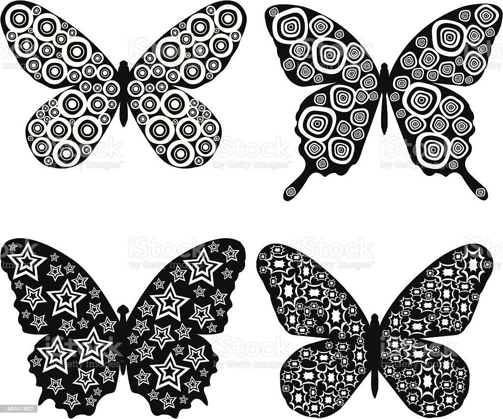 Ilustración De Blanco Y Negro Mariposas Y Más Banco De
