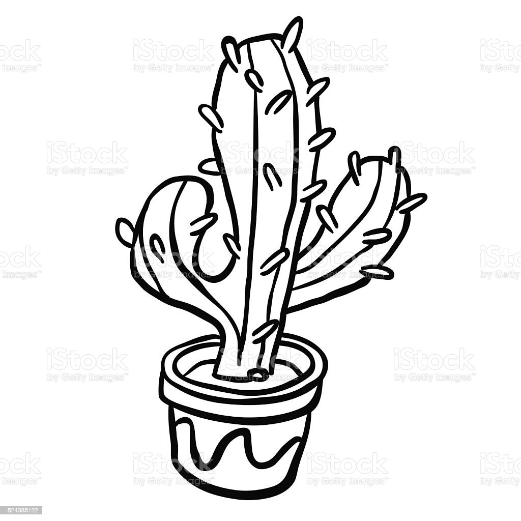 Black And White Cactus In A Pot stock vector art 524385122 ...