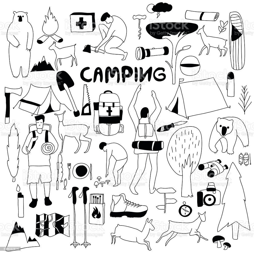 Iconos blanco y negro de acampada ilustración de iconos blanco y negro de acampada y más banco de imágenes de actividad libre de derechos