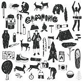 Vector hand drawn cartoon seamless camping icons. Picnic, travel and camping theme. Black and white camping icons. Textil, paper, polygraphy, game, web design