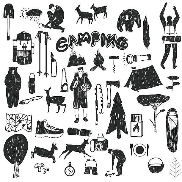 black and white camping icons vector art illustration