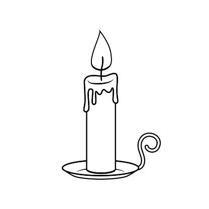 Black and White Candle with holder In a white background for assembling or creating teaching materials for moms doing homeschooling and teachers searching for images for teaching materials such as flashcards or children's books.