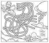 Vector Black And White, Canoe Maze