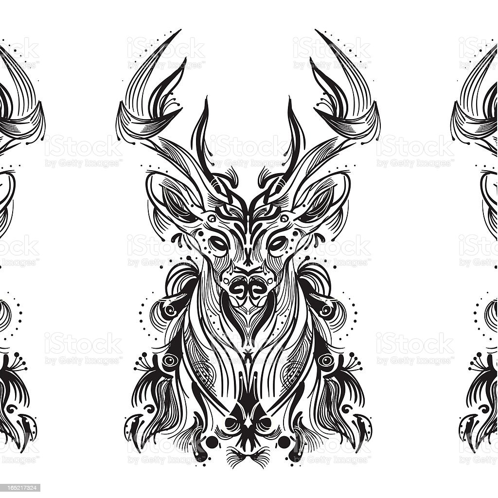 Black and white card with stylized deer royalty-free stock vector art