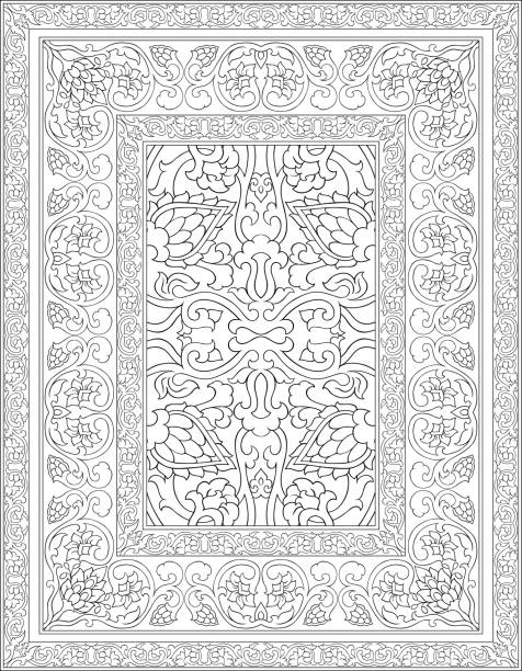 Black and white carpet. Black and white template for carpet, textile. Oriental floral pattern with frame. tapestry stock illustrations