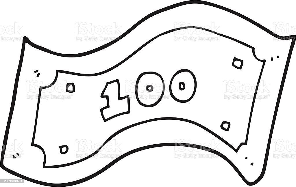 black and white cartoon 100 dollar bill stock vector art more rh istockphoto com  canadian 100 dollar bill vector