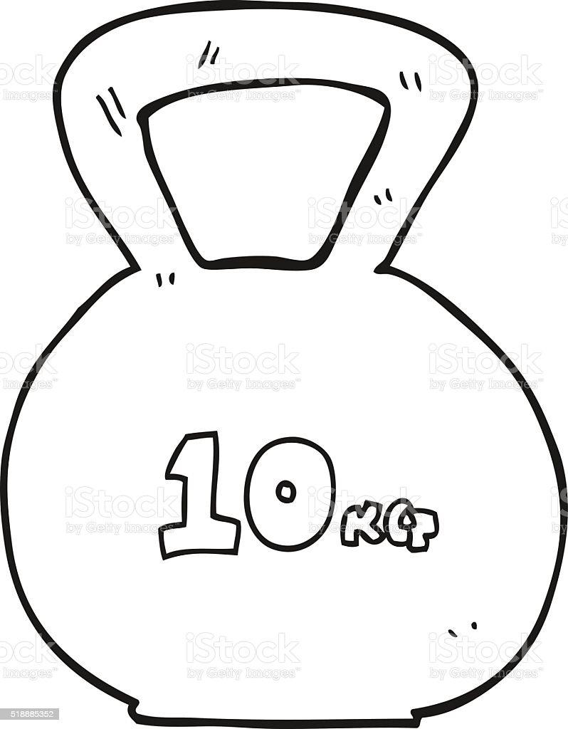 Black And White Cartoon 10kg Kettle Bell Weight Stok Vektör Sanatı