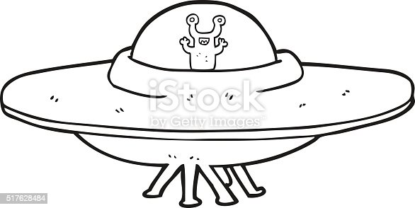 Black And White Cartoon Alien Spaceship Stock Vector Art