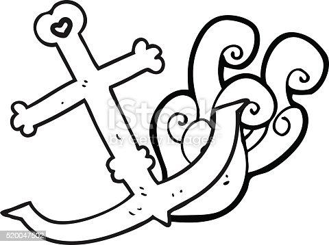 Schwarz Und Weiß Cartoon Anker Stock Vektor Art Und Mehr Bilder Von