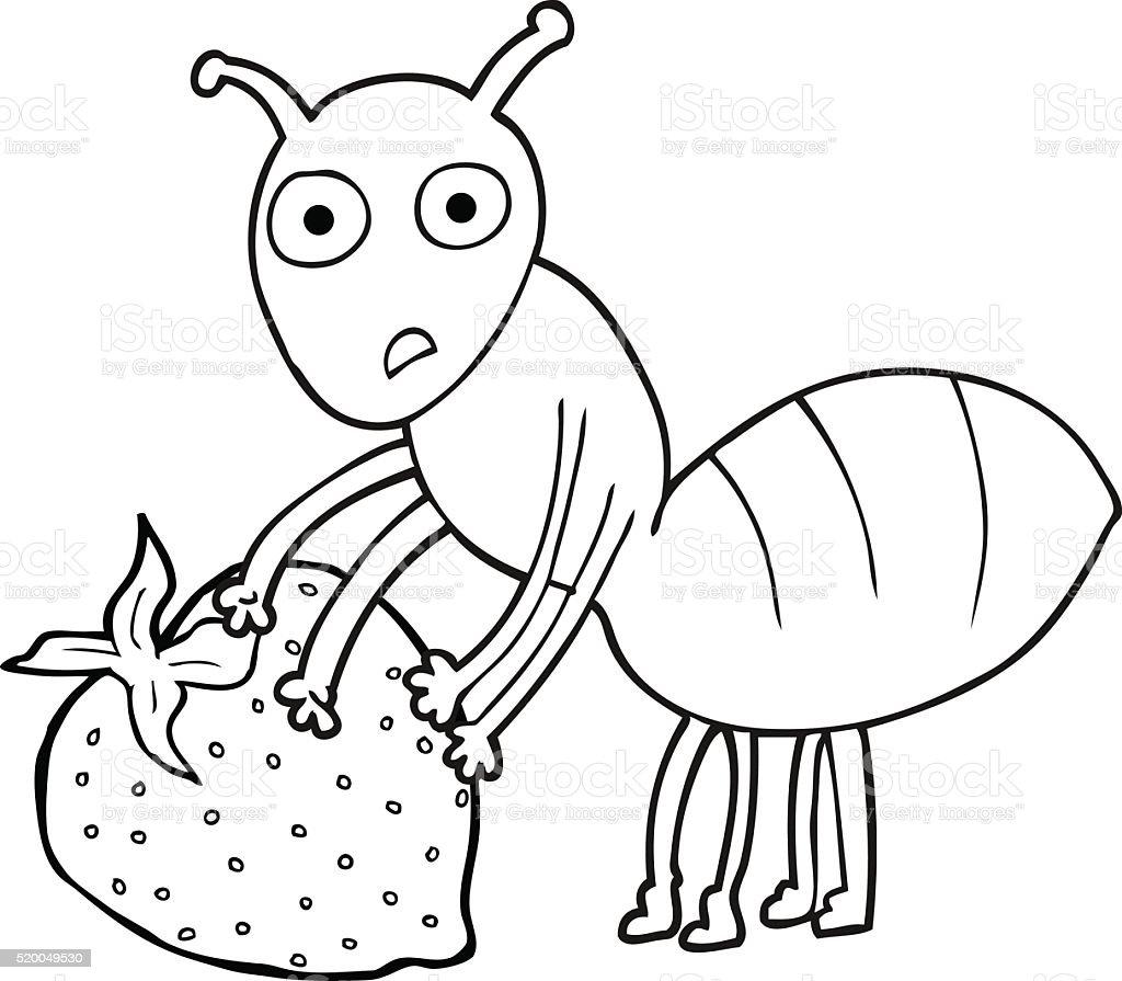 Black And White Cartoon Ant With Berry Stok Vektor Sanati Boyama