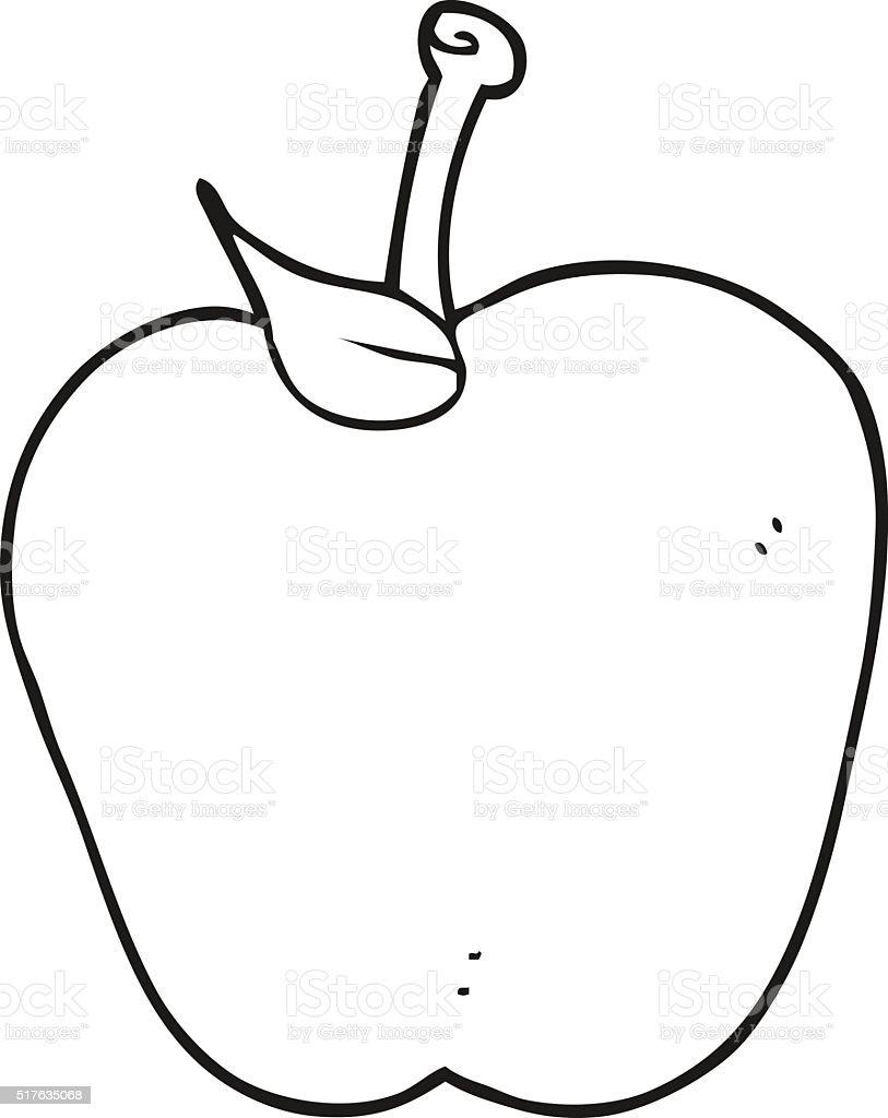 noir et blanc dessin animé pomme vecteurs libres de droits