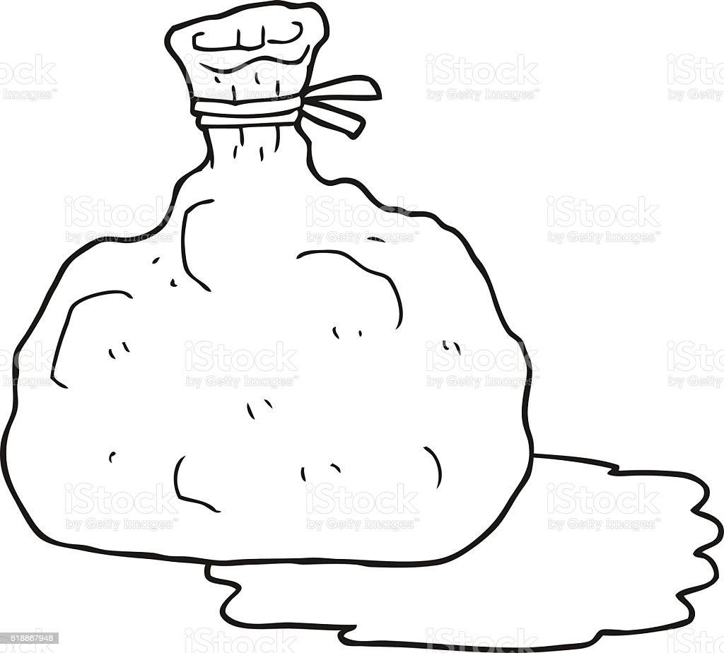 Schwarz Und Weiß Cartoon Tasche Von Müll Stock Vektor Art