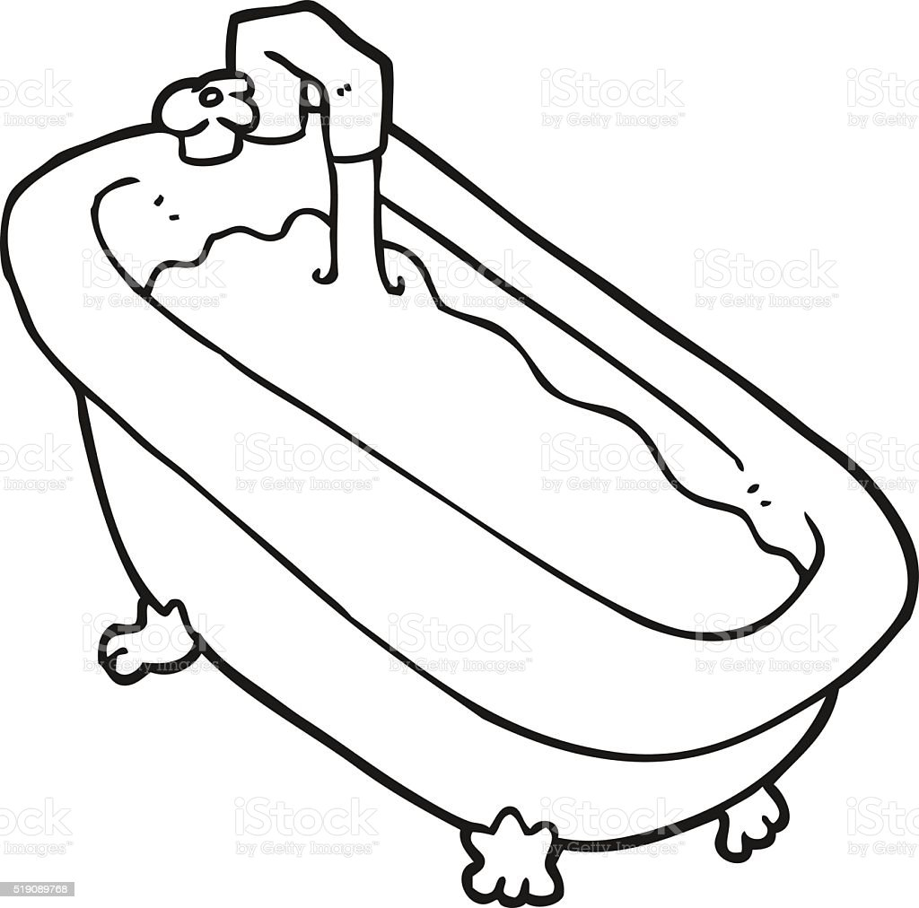 Bathroom Clip Art Black And White: Black And White Cartoon Bath Full Of Water Stock Vector