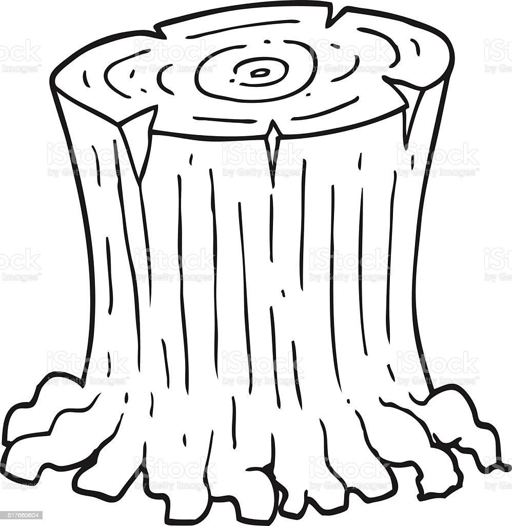 Black And White Cartoon Big Tree Stump Stock Vector Art More