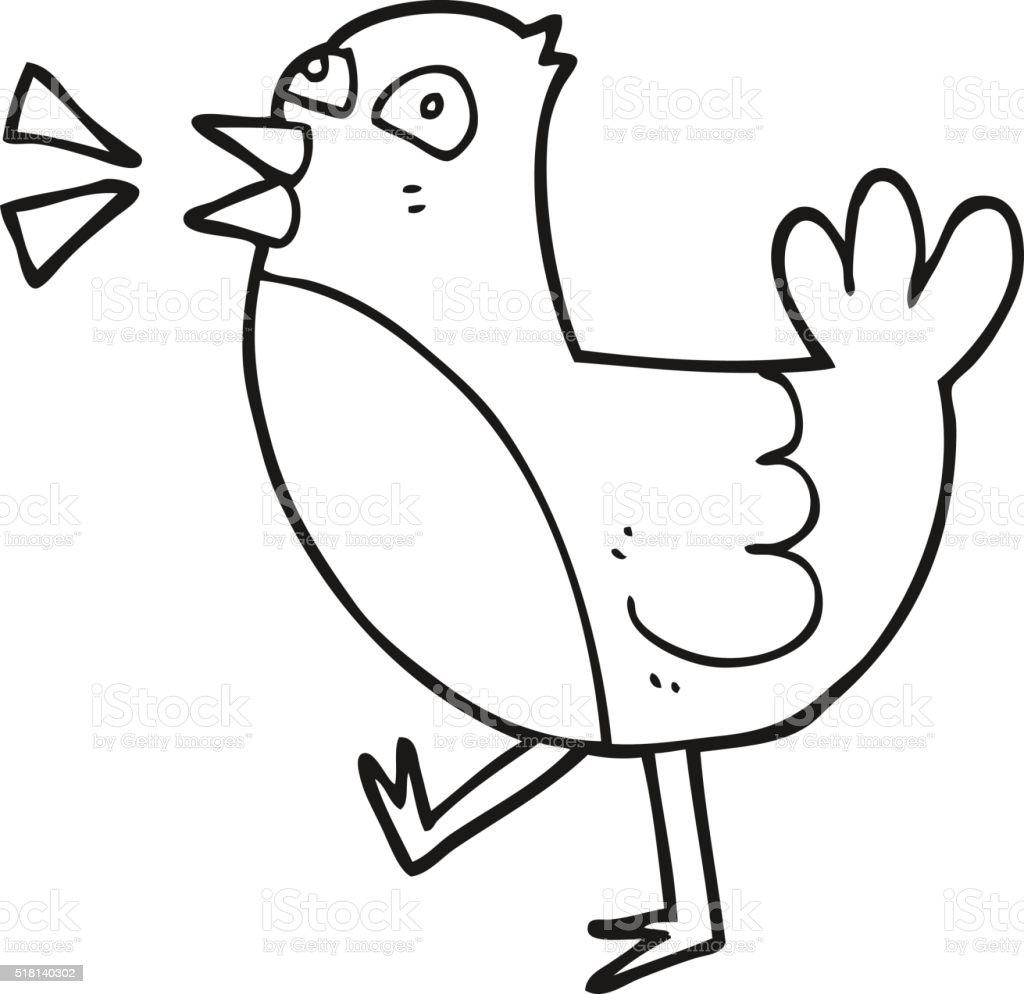 Oiseau En Dessin Animé Noir Et Blanc Vecteurs Libres De