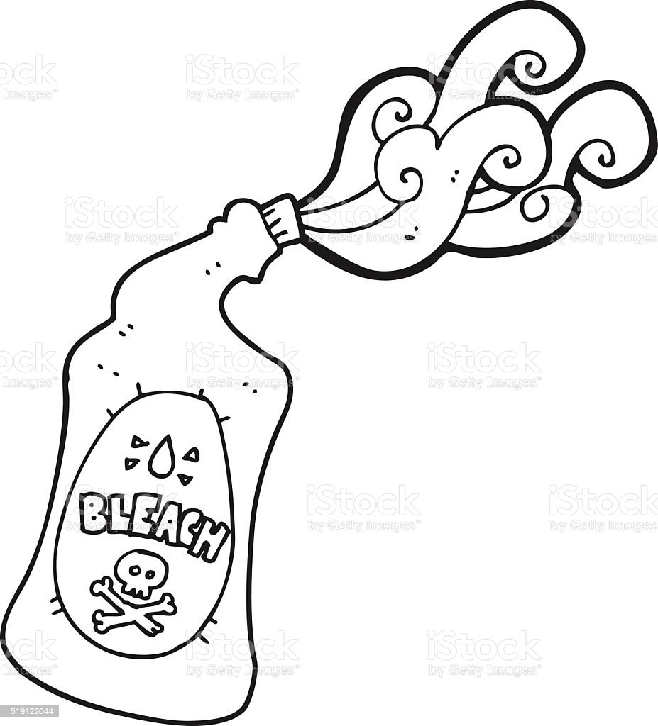 Black And White Cartoon Bleach Bottle Squirting Royalty Free Stock Vector Art