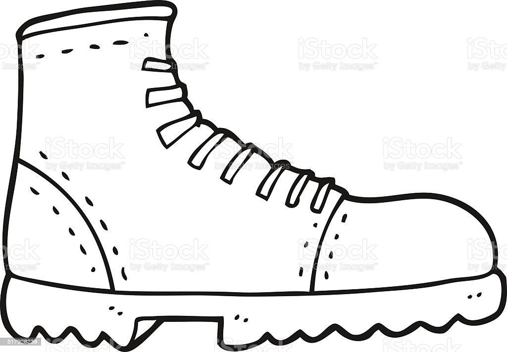 Black And White Cartoon Boot Stok Vektor Sanati Ayakkabi Nin