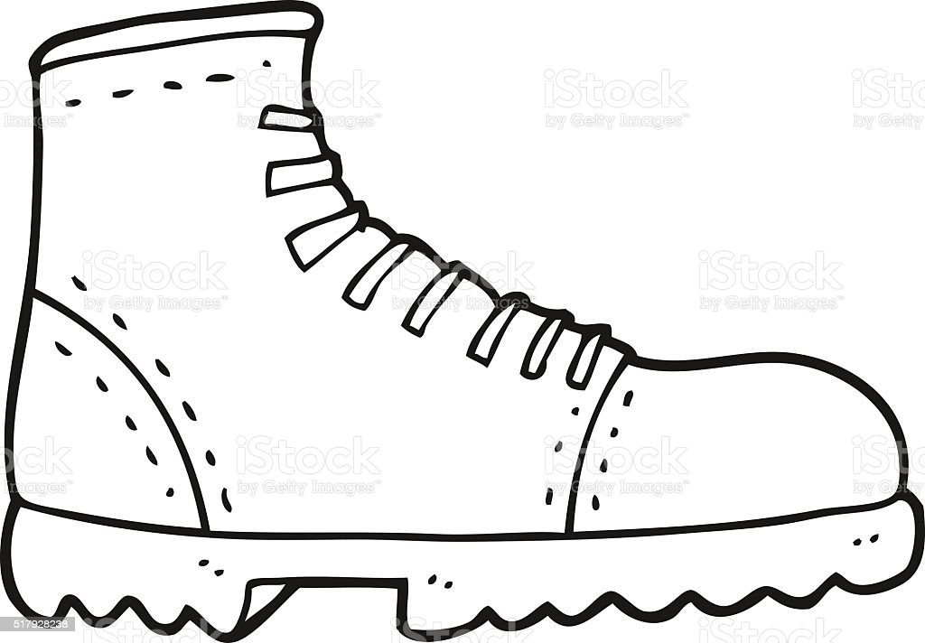 Black And White Cartoon Boot Stok Vektör Sanatı Ayakkabınin Daha