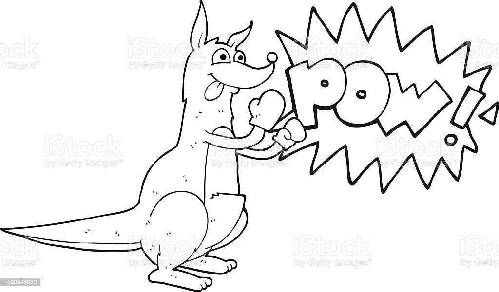 black and white cartoon boxing kangaroo vector art illustration
