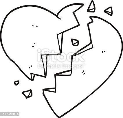 Black and white cartoon broken heart stock vector art - Dessin de coeur brise ...