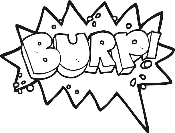 black and white cartoon burp symbol vector art illustration