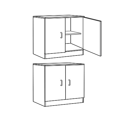 Black and White Cartoon cabinet or cupboard pictures for children This is a vector illustration for preschool and home training for parents and teachers.