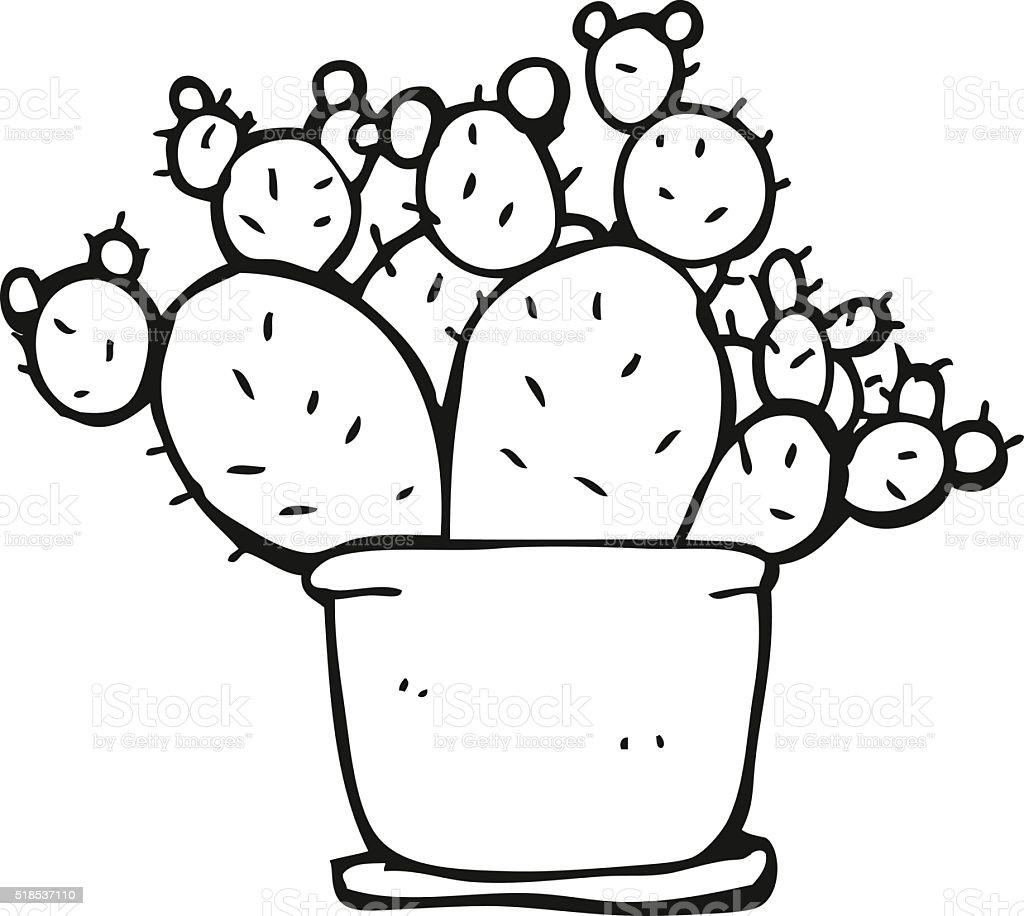 Black and white cartoon cactus stock vector art 518537110 istock - Black and wait ...