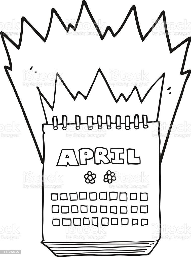 白黒イラスト 4 月のカレンダーを表示 いたずら書きのベクターアート素材や画像を多数ご用意 Istock