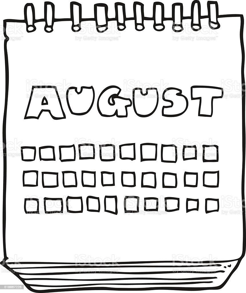 Calendario Dibujo Blanco Y Negro.Ilustracion De Blanco Y Negro De Historieta Calendario Que