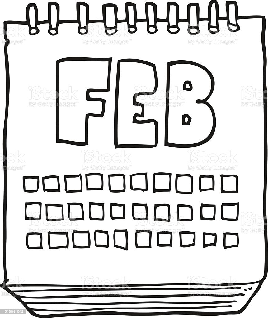 Calendar Clipart Black And White : Black and white cartoon calendar showing month of february
