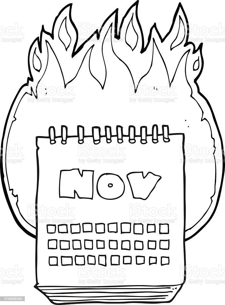 白黒イラスト 11 月のカレンダーを表示 いたずら書きのベクターアート