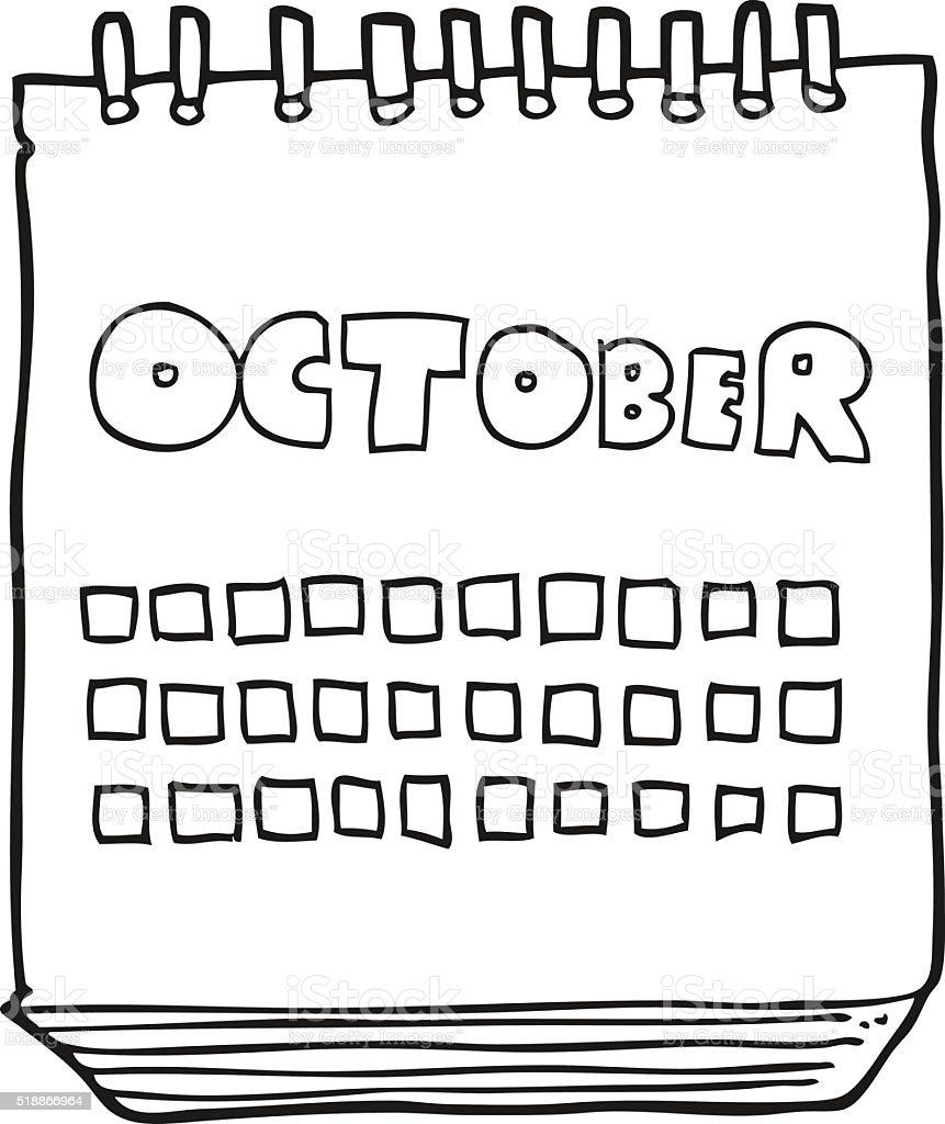 白黒イラスト 10 月のカレンダーを表示 いたずら書きのベクターアート